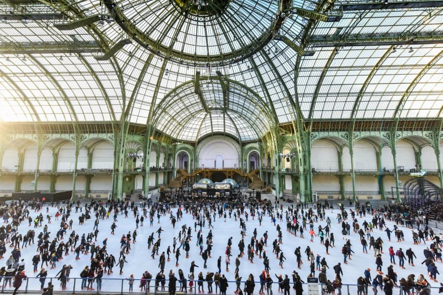 ice skating rink in Paris - Grand Palais, things to do in Paris in the winter