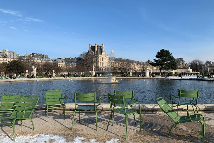 Louvre in Winter - the Tuileries are open during Winter in Paris and are a great place for a walk if you are looking for things to do in Paris in Winter