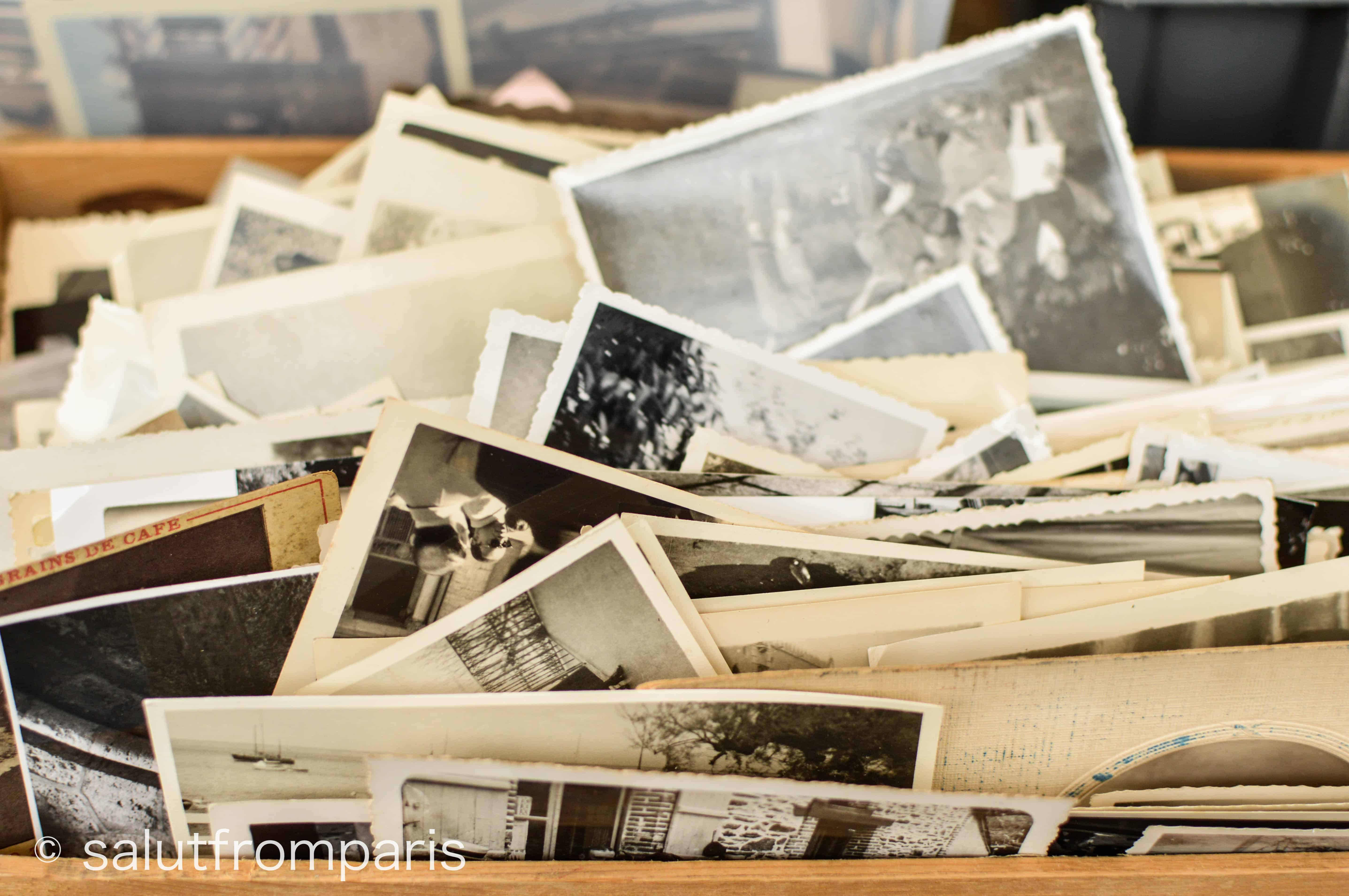 Old photographs at the Puces de Vanves in the south of Paris - The vanves flea market is a good place for some vintage bargain hunting! Visit the vanves flea market paris