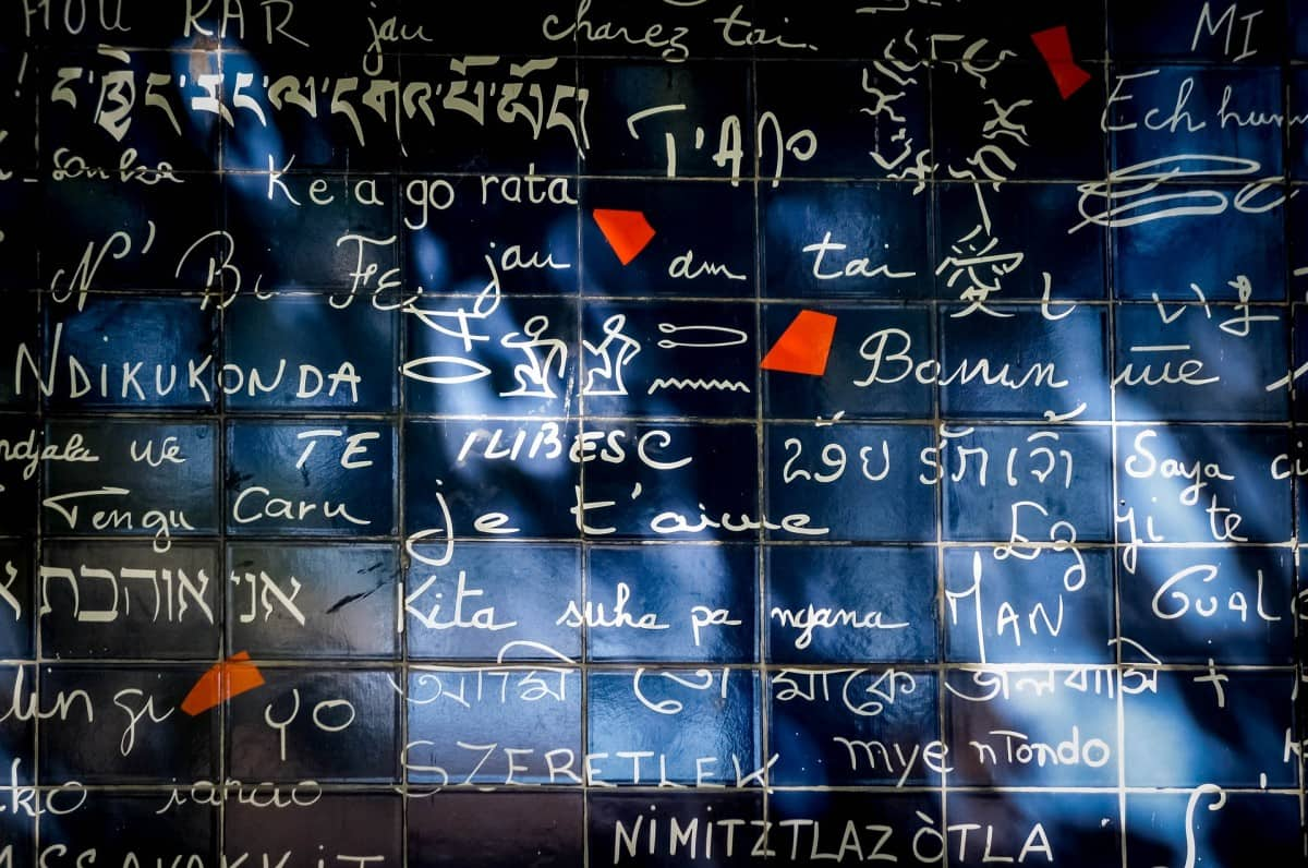 The I love you wall is just next to Montmartre Metro: the Montmartre Metro station Abessess is directly in Montmartre and if you wonder: how to get to Montmartre? that's your best bet.