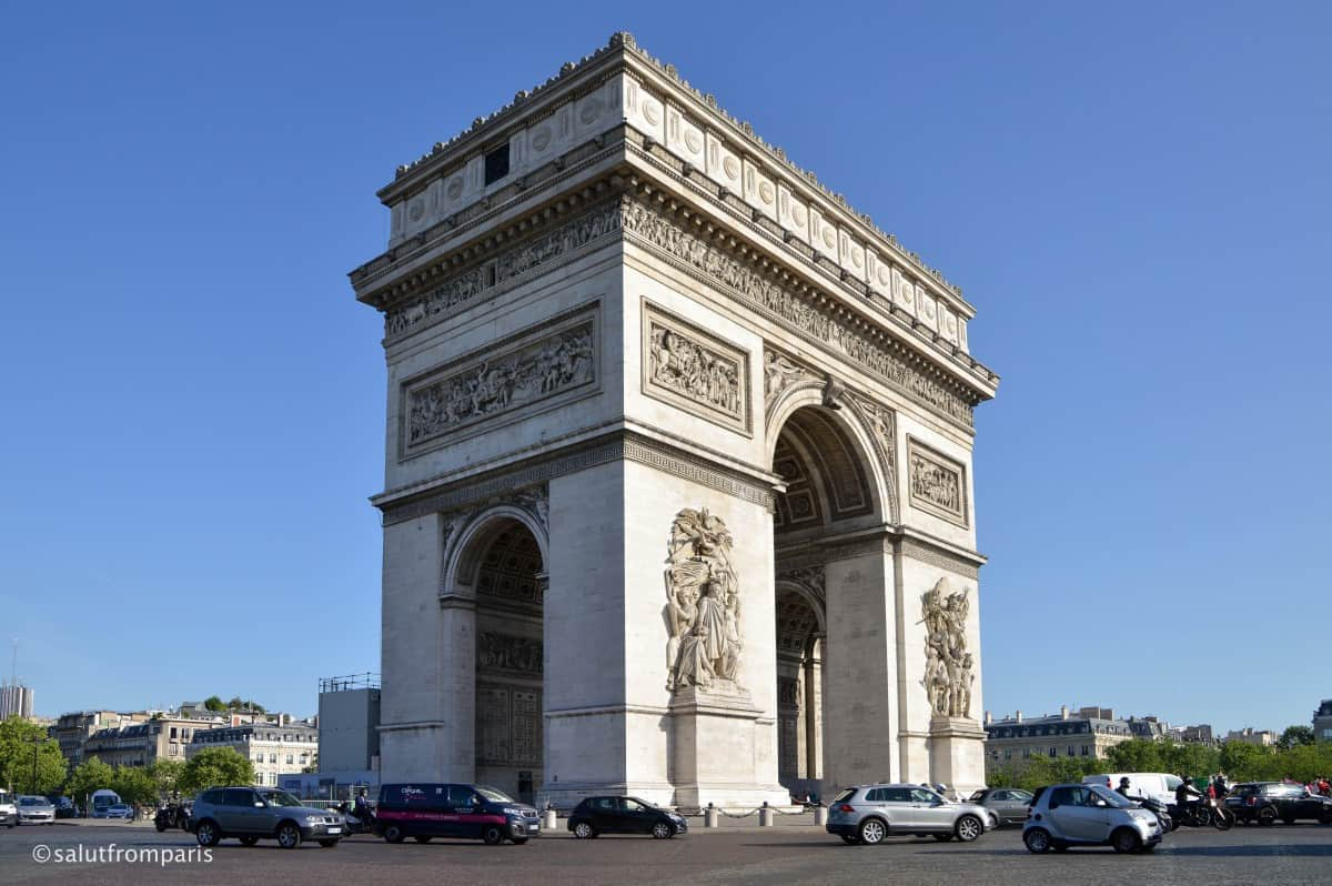 The Arc de Triomphe stands on the Place Charles de Gaulle. Do not cross the round about to get to the Arch! There is a gangway that leads to it. The entrance is on the right side of the Champs Élysées. The Arch de Triomphe is a good starting point for a off beat and unusual walking tour through Paris hidden Gem Parc Monceau and the Batignolles area. Buy tickets for Arc de Triomphe online to save time
