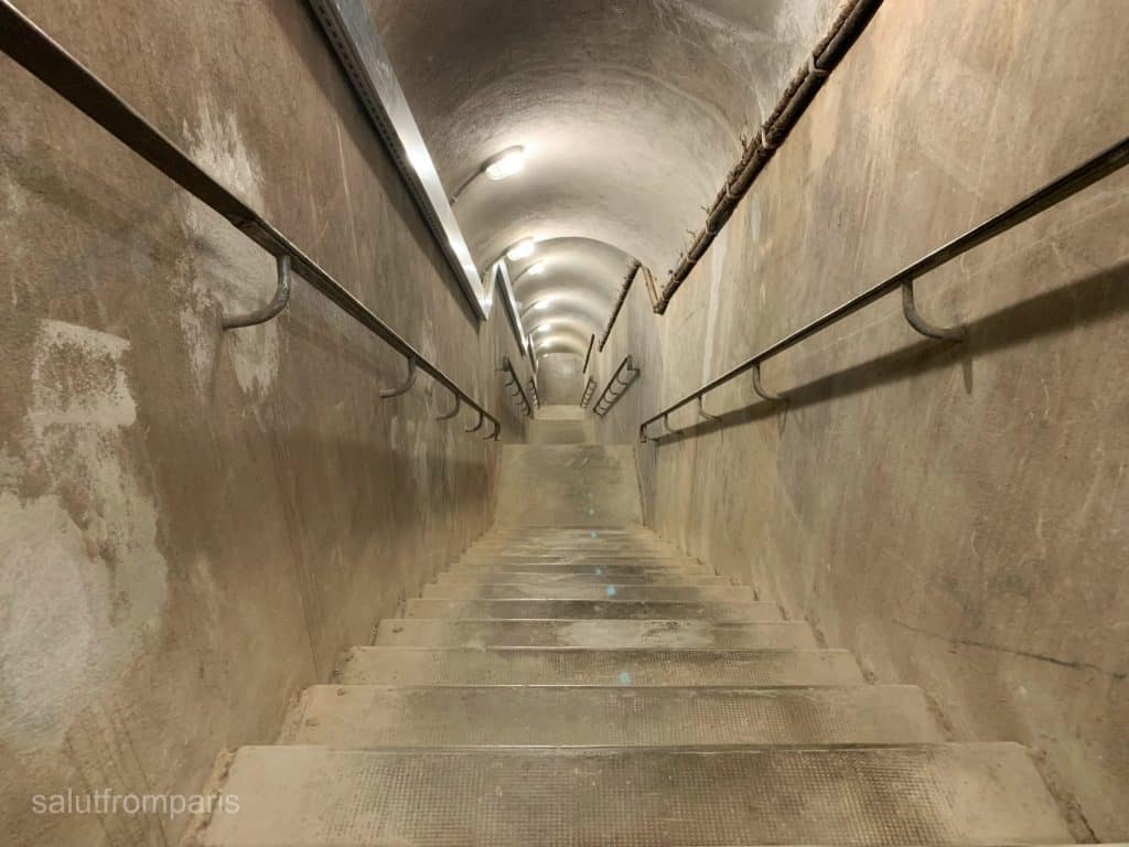 Stairs leading down to the bunker of the Liberation Museum of Paris