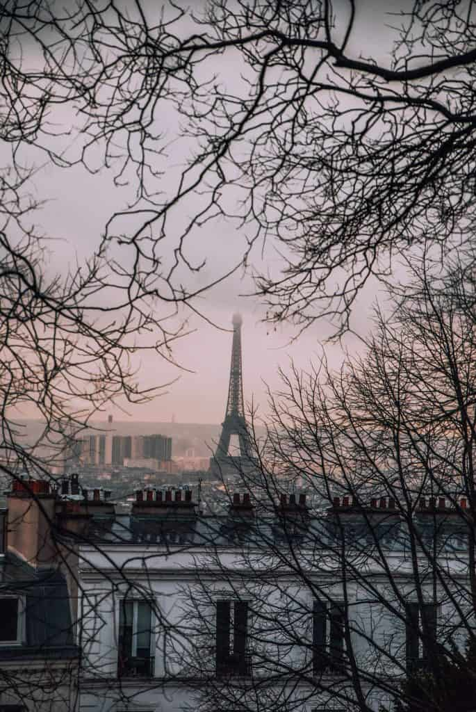 Winter view from Sacre Coeur to the Eiffel Tower