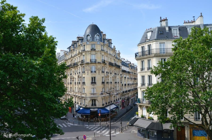 View over Paris on a sunny spring day in Paris - Taken from the Coulé Verte