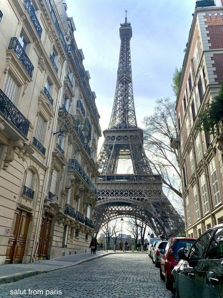 Best view point in Paris - View on the Eiffel Tower from Rue de l'Université