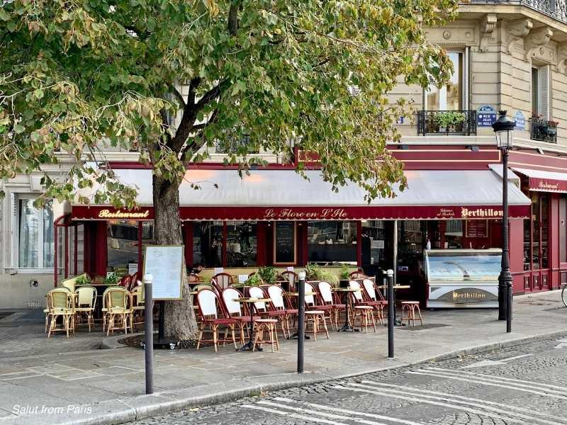 Le Flore En L'ile - where she meets Luc, cafe emily in paris