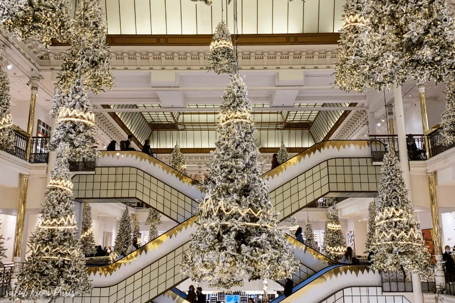 Christmas Decorations at the Bon Marchè, visiting the decorated shops is one of the romantic things to do in paris in winter